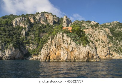 Rocky terraces on the Mediterranean coast at Capri Island