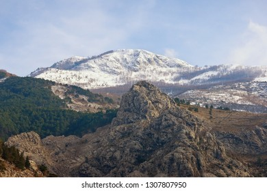 Rocky terrain of the Dinaric Alps, mountain landscape on sunny winter day. Montenegro