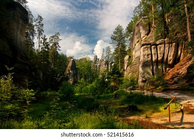 Rocky town in Adrspach - National Nature Reserve in the Czech Republic, Europe