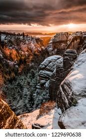 Rocky town, Czech republic, Broumov - Shutterstock ID 1229690638