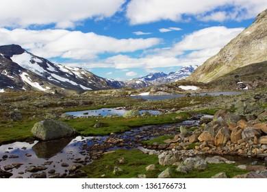 Rocky track in Jotunheimen park in Norway