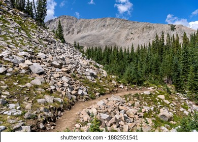 Rocky Trail - A rocky section of Blue Lake Trail in Indian Peaks Wilderness on a sunny Summer afternoon, Colorado, USA.