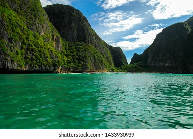 Rocky walls, with crystal clear waters, Maya bay, Ko Phi Phi island, Phuket, Thailand