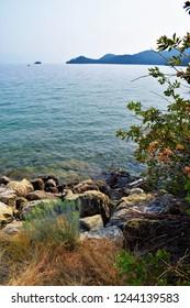 Rocky Water's Edge, West Shore State Park, Goose Bay, Flathead Lake, Montana, USA