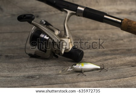 Rod Baitcasting Reel Crankbait On Board Stock Photo (Edit