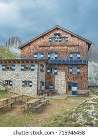 Roda di Vael refuge-August 16, 2017: Typical alpine, family-run refuge, located on the southern slopes of Catinaccio massif on Ciampac pass, Dolomites, Vigo di Fassa village, South Tyrol, Italy