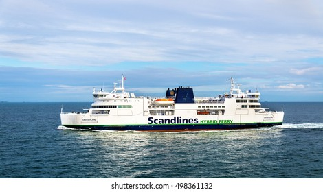 Rodbyhavn, Denmark - July 18, 2016: Scandlines Hybrid Ferry on route Rodby - Puttgarden, between Denmark and Germany