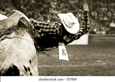 Rodeo bull rider (in soft focus and vintage/sepia tone) trying to stay on a twistng bull.