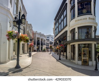 Rodeo Dr,Beverly Hills,CA, May 23rd,2016.  A three block stretch of the street north of Wilshire Boulevard and south of Little Santa Monica Boulevard, known for its luxury-goods stores.