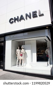 Rodeo Drive, Beverly Hills, CA. USA August 21,2018 Chanel store in the famous high fashion shopping district.