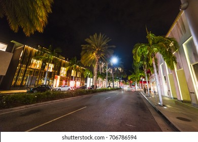 Rodeo Drive at night. Beverly Hills, California