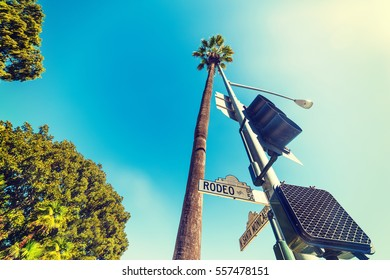 Rodeo drive road sign in Los Angeles, California