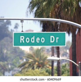 Rodeo Drive sign in affluent Beverly Hills California.