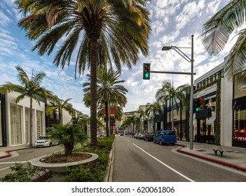 Rodeo Drive Street with stores and Palm Trees in Beverly Hills - Los Angeles, California, USA