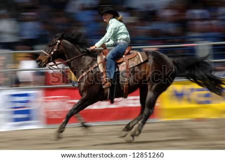 Rodeo: Ladies Barrel Racing Editorial Photography - Image