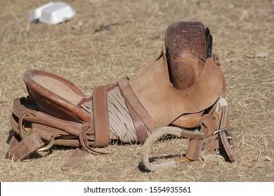Rodeo saddle bronc saddle detail