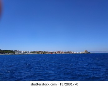 Rodes island, Greece. Sealine in sunny weather.