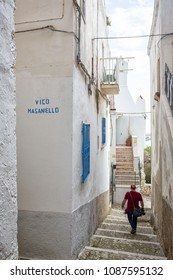 RODI GARGANICO, ITALY - APRIL 30, 2018 - Rodi Garganico is a little picturesque village in Puglia, south Italy. It is famous for the white buildings, the narrow alleys and the colored doors