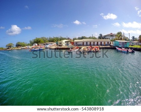 RODNEY BAY, SAINT LUCIA - CIRCA JULY 205: Conch fishing marina at the entrance to the bay