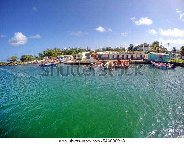 RODNEY BAY, SAINT LUCIA - CIRCA JULY 205: Conch fishing marina at the entrance to the bay