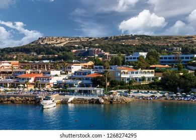Rodos city at summer season. Landscape of coast line.