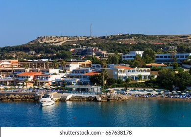 Rodos city at summer season. Landscape of coast line.