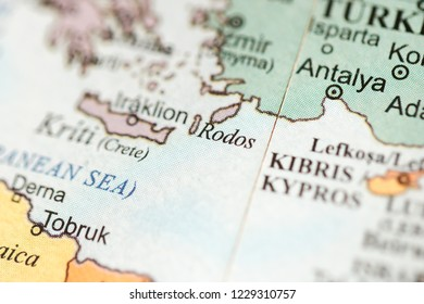 Rodos. Europe on a geography map