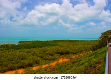 Roebuck Bay landscape in Broome , North Western Australia , with mudflats, rocks abundant  marine life with  big tides, mangroves, white sand  and aquamarine waters, is a wondrous environment.