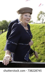 Roelofarendsveen, The Netherlands - October 14, 2017: Princess Beatrix, the former queen of the Netherlands, was present at the reopening of the three hundred year old Googermill after a renovation