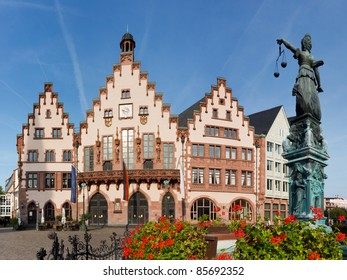The Roemer at Roemerberg, Frankfurt's Town Hall and center of the Old Town. Statue of Lady Justice (Justitia) in the foreground.