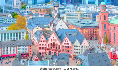 Roemerberg old city in Frankfurt am Main, Germany