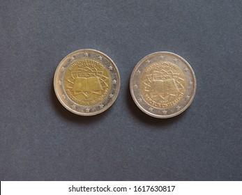 Roemische Vertraege aka Vertrag von Rom (translation: Roman Treaty) German and Austrian Euro coins