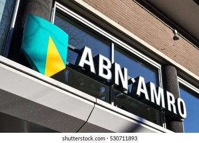 ROERMOND, NETHERLANDS - December 4, 2016: entrance of an ABN AMRO branch. ABN AMRO is the third-largest bank in the Netherlands.