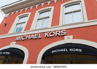 Roermond, Netherlands - July 14, 2015: Michael Kors shop at the Roermond Designers Outlet. Michael Kors is a New York fashion designer widely known for his Casual chic style with a timeless elegance.