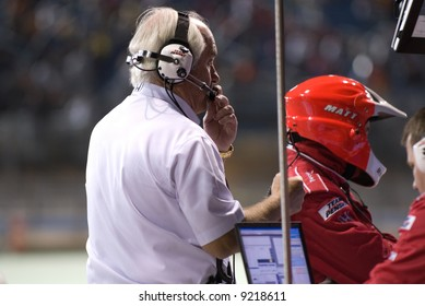 Roger Penske in Pit Stop at Homestead Miami Indy Race 1