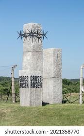Rogoznica, Poland - June 3, 2021: Monument of Gross-Rosen at Gross-Rosen museum.