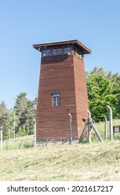 Rogoznica, Poland - June 3, 2021: Guard tower at Gross-Rosen Nazi concentration camps. Gross-Rosen was a network of Nazi concentration camps built and operated by Nazi Germany during World War II.