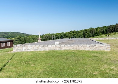Rogoznica, Poland - June 3, 2021: Viewplase where was weaving mill at Gross-Rosen. Gross-Rosen was a Nazi concentration camps built and operated by Nazi Germany.
