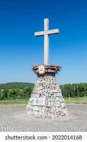Rogoznica, Poland - June 3, 2021: Memorial cross to priest Wladyslaw Bladzinski at Gross-Rosen. Gross-Rosen was a Nazi concentration camps built and operated by Nazi Germany.