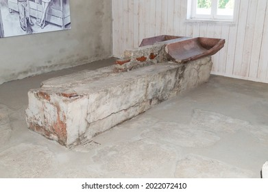 Rogoznica, Poland - June 3, 2021: Baths inside prison barack in Gross-Rosen. Gross-Rosen was a network of Nazi concentration camps built and operated by Nazi Germany during World War II.