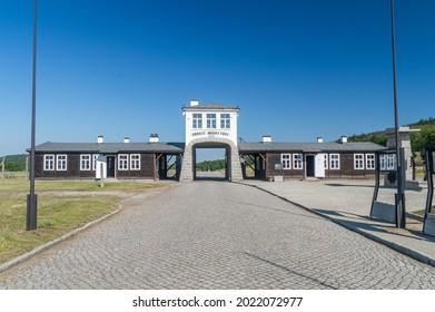 Rogoznica, Poland - June 3, 2021: Gross-Rosen entrance gate with the phrase Arbeit Macht Frei in former Nazi concentration camp Gross-Rosen.