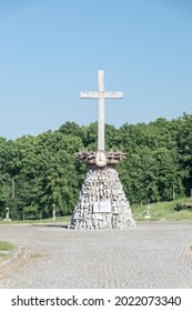 Rogoznica, Poland - June 3, 2021: Memorial cross at Gross-Rosen. Gross-Rosen was a Nazi concentration camps built and operated by Nazi Germany.
