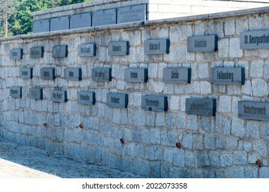 Rogoznica, Poland - June 3, 2021: Wall with plates at Gross-Rosen memorial. Gross-Rosen was a network of Nazi concentration camps built and operated by Nazi Germany during World War II.