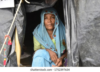 A Rohingya family mamber sits in makeshift house at the Unchiprang makeshift Camp in Cox's Bazar, Bangladesh, on September 07, 2017.