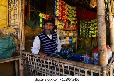 A Rohingya refugee man shopkeeper wait for customer in his shop in the Balukhali refugee camp in Ukhia, Cox's Bazar, Bangladesh on February 02, 2019