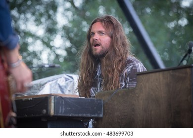 Rohnert Park, CA/USA - 8/31/16: Brandon Still of Blackberry Smoke performs live in concert.  The band opened for Gov't Mule.  The band has opened for  Zac Brown Band, Eric Church, and Lynyrd Skynyrd.