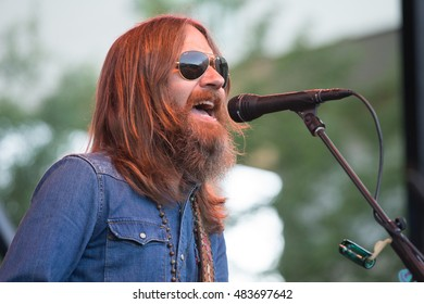 Rohnert Park, CA/USA - 8/31/16: Charlie Starr leads Blackberry Smoke live in concert.  The band opened for Gov't Mule.  The band has opened for  Zac Brown Band, Eric Church, ZZ Top and Lynyrd Skynyrd.