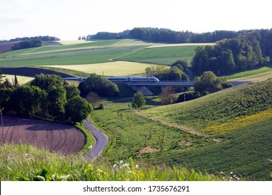 Rohrbach, Germany. May 19, 2020. A German train crosses Bavaria this evening as Deutsche Bahn announces it intends to double the number of cleaners on its trains to combat Corona virus.