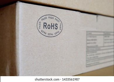 RoHS (Restriction of Hazardous Substances) logo symbol printed on a electronic product packaging. RoHS compliance ensures safety from exposure to hazardous material during manufacturing and recycling.