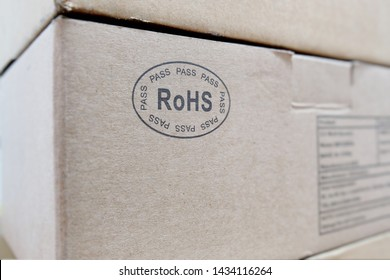 RoHS (Restriction of Hazardous Substances) marking on a box containing an electronic product. RoHS compliance ensures safety from exposure to hazardous material during manufacturing and recycling.